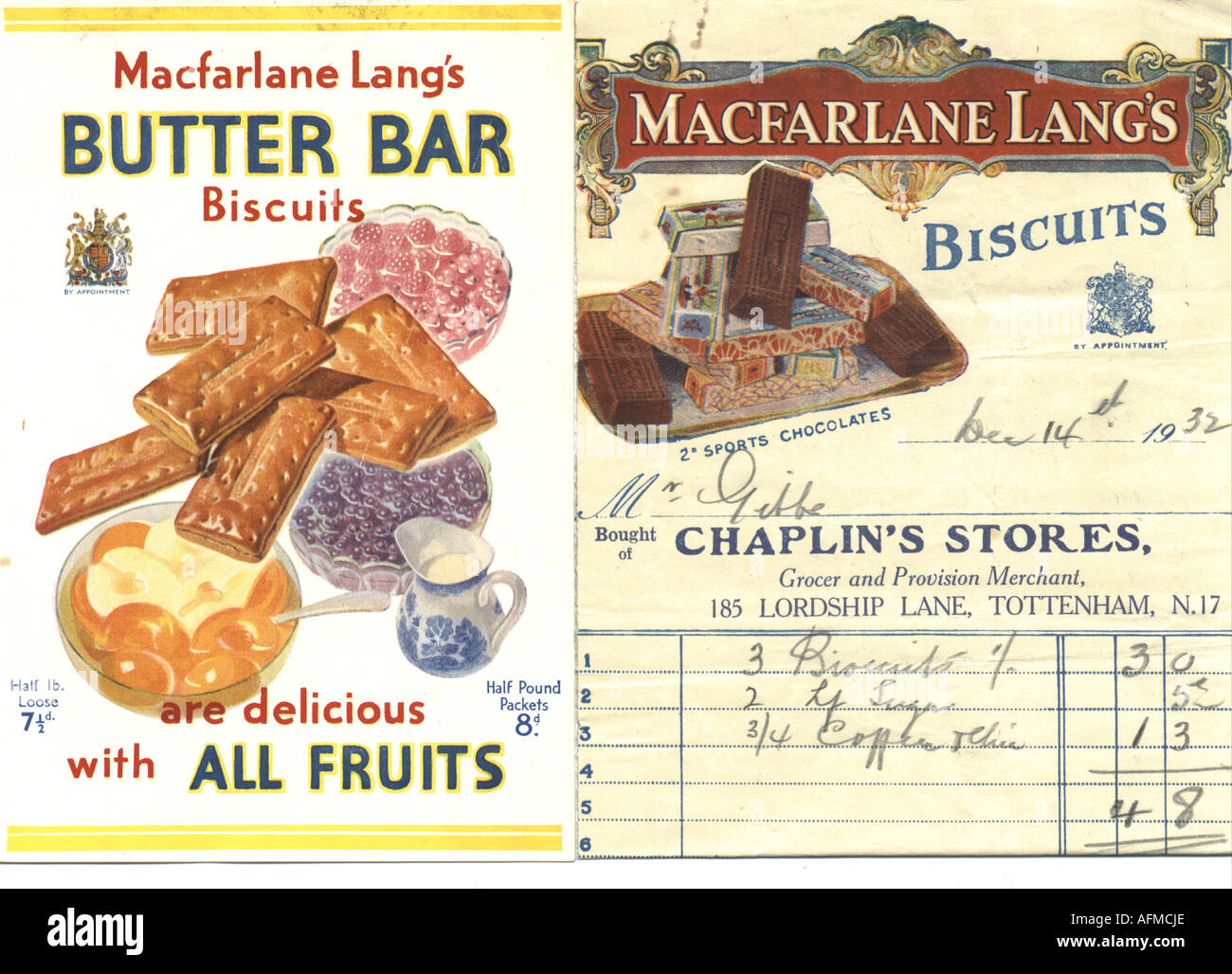 Pictorial bill head and advertisement for Macfarlane Lang's biscuits circa 1930 - Stock Image
