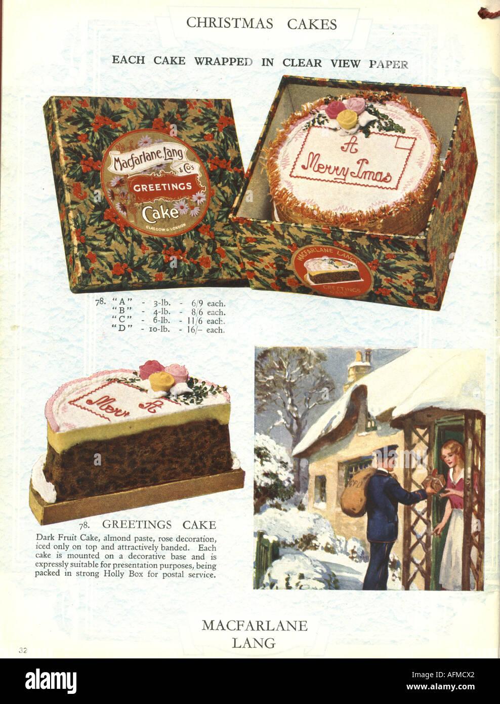 Christmas cakes from Macfarlane Lang 1934 - Stock Image
