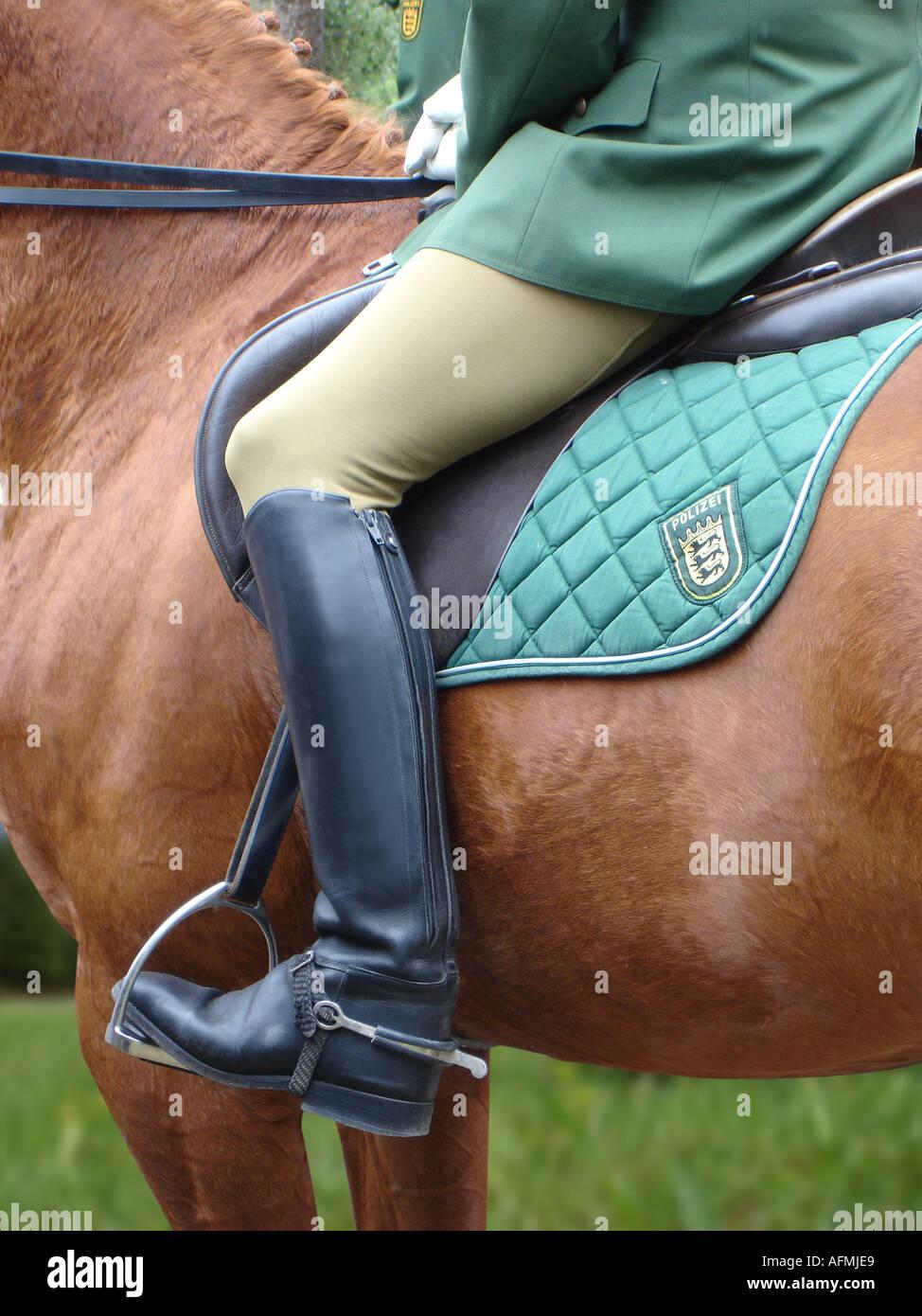Police officer on horse Polizeibeamter auf Pferd - Stock Image