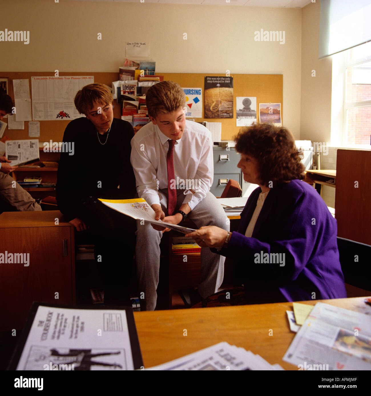 Education Careers Advice in school office - Stock Image