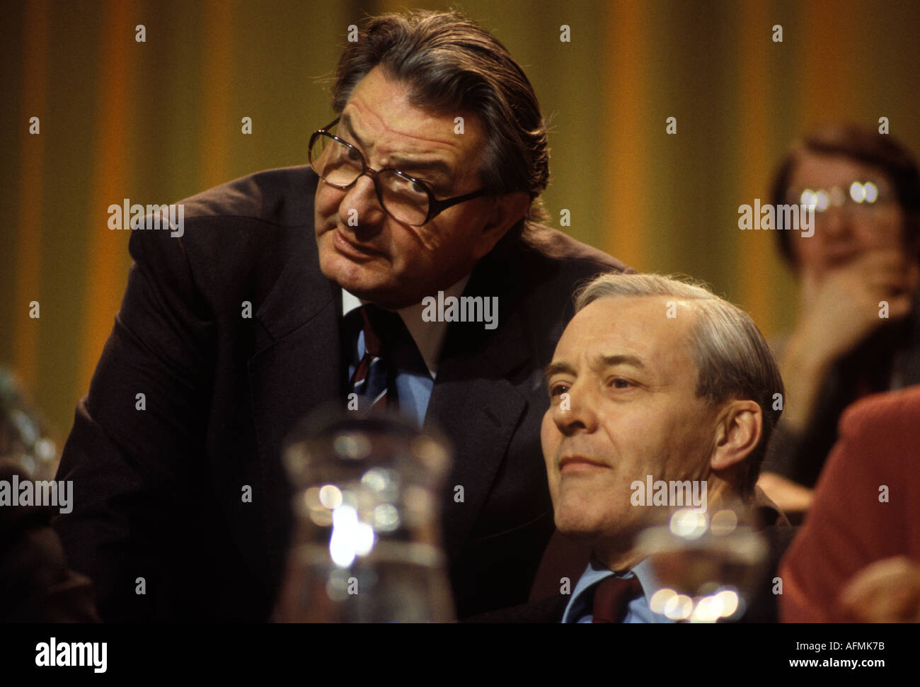 Eric Heffer Labour MP and Tony Benn MP  Labour party Conference  circa 1985  HOMER SYKES - Stock Image