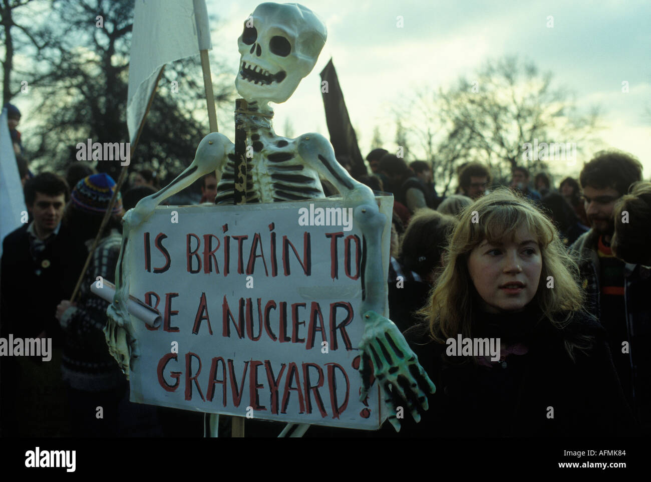 The Labour Party 'Nuclear Arms No, Peace Yes' march  demonstration London 1980s HOMER SYKES - Stock Image