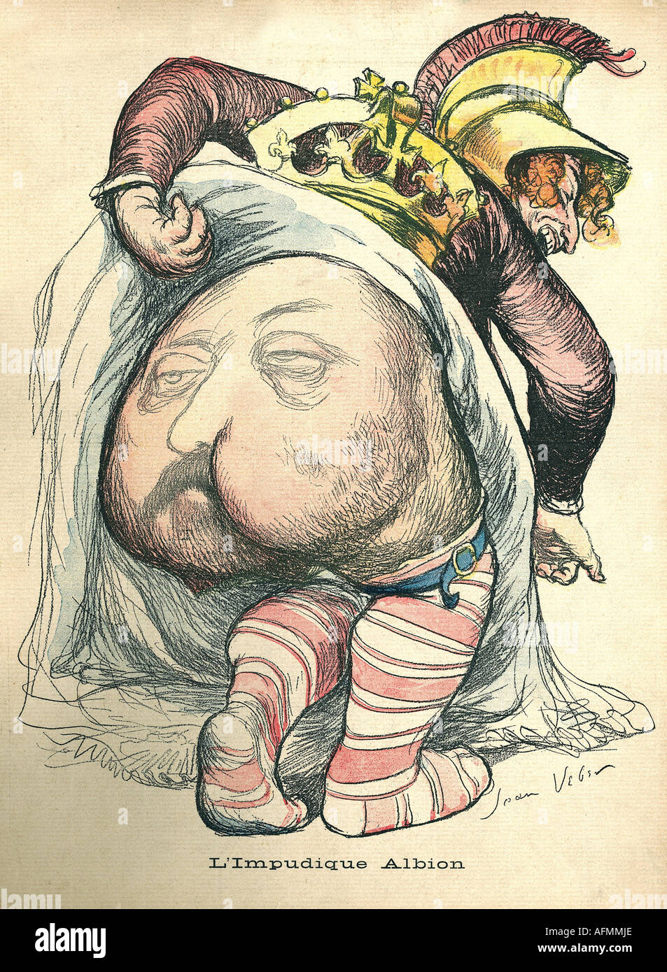 Edward VII, 9.11.1841 - 6.5.1910, King of Great Britain 22.1.1901 - 6.5.1910, caricature, impure Albion, drawing by Jean Veber, lithograph, France, 1901, , Additional-Rights-Clearances-NA - Stock Image
