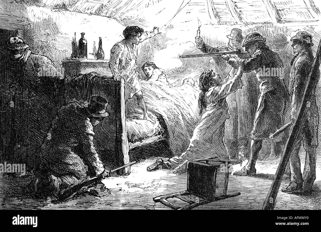 geography/travel, Ireland, disturbances 1881, terror of the 'Moonshine Boys', murdering a leaseholder's wife and children, contemporary engraving, 19th century, Great Britain, , Additional-Rights-Clearances-NA - Stock Image