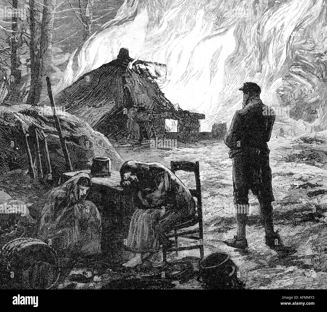 geography/travel, Ireland, disturbances 1881, terror of the 'Moonshine Boys', burning down a farmhouse, contemporary engraving, 19th century, Great Britain, , Additional-Rights-Clearances-NA - Stock Image