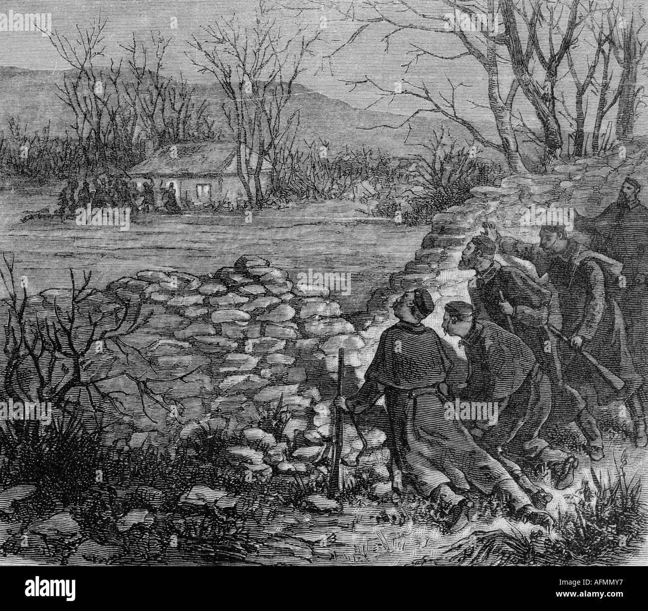 geography/travel, Ireland, disturbances 1881, terror of the 'Moonshine Boys', capture of 'Captain Moonshine' by British police, contemporary engraving, 19th century, Great Britain, , Additional-Rights-Clearances-NA - Stock Image