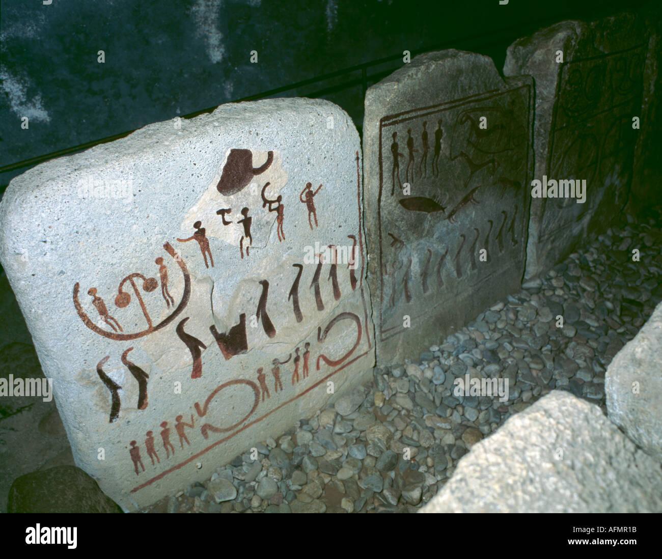Interior of Kungagraven (King's Grave or Bredarör burial cist), Bronze Age tomb, Kivik, Skåne, Sweden. - Stock Image
