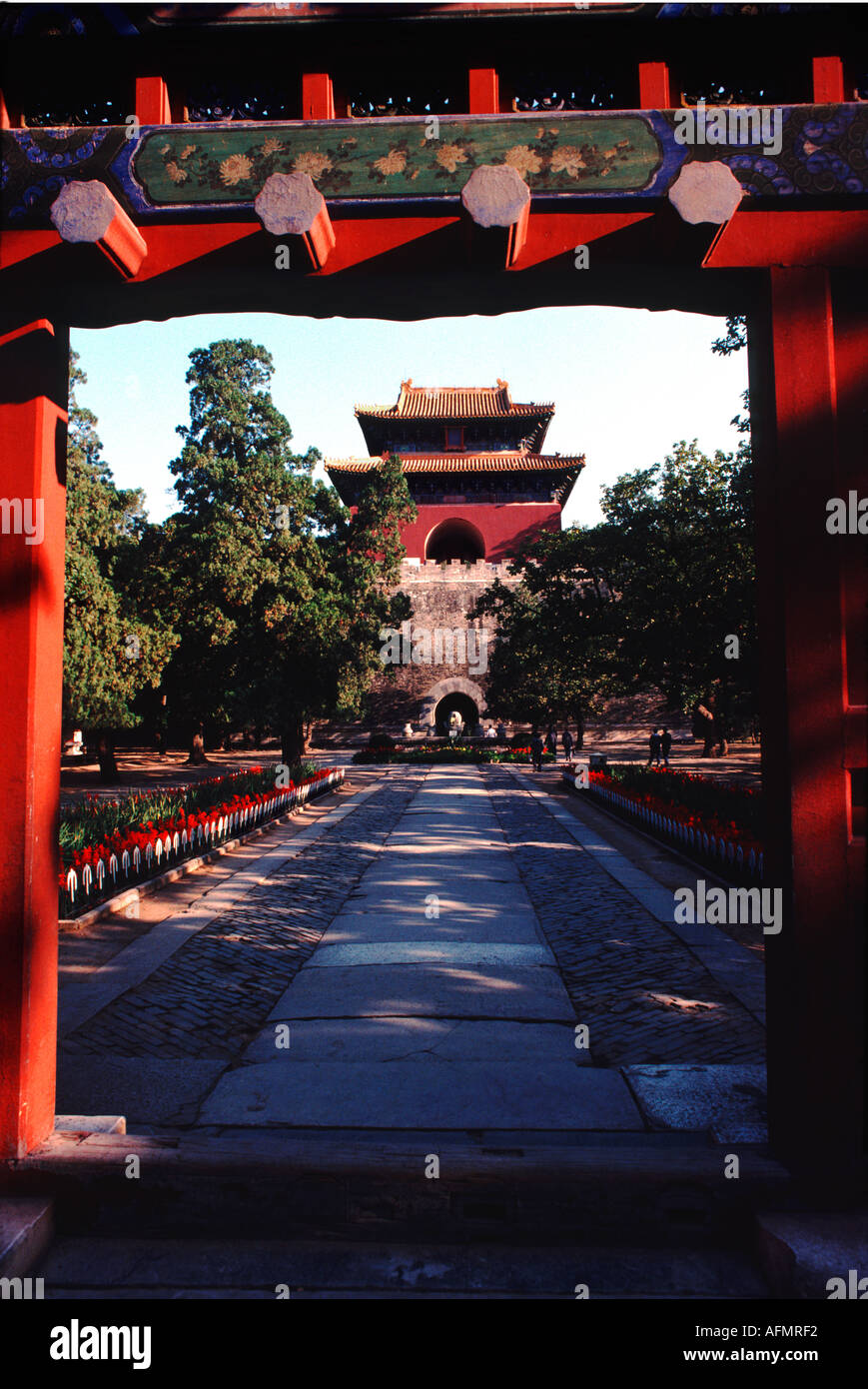 1741 Ming Dynasty tombs near Beijing Peking China Asia architecture old royalty rullers ancient building - Stock Image