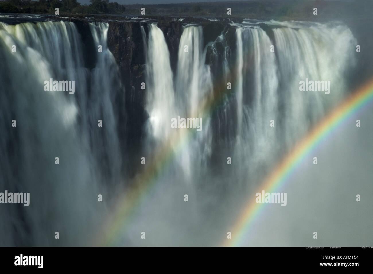 Double rainbow at Victoria Falls Zimbabwe - Stock Image