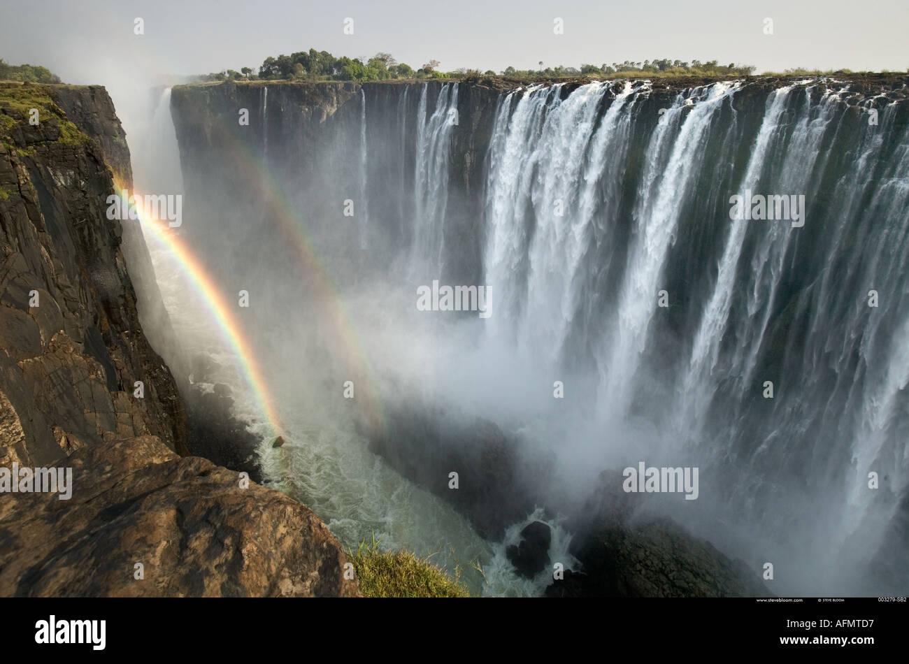 Double rainbow Victoria Falls Zimbabwe - Stock Image