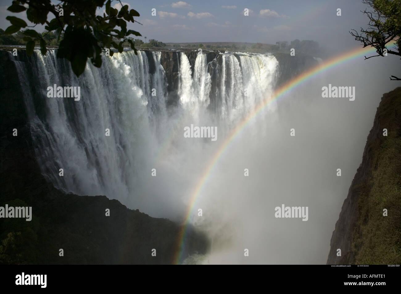 Rainbow Victoria Falls Zimbabwe - Stock Image