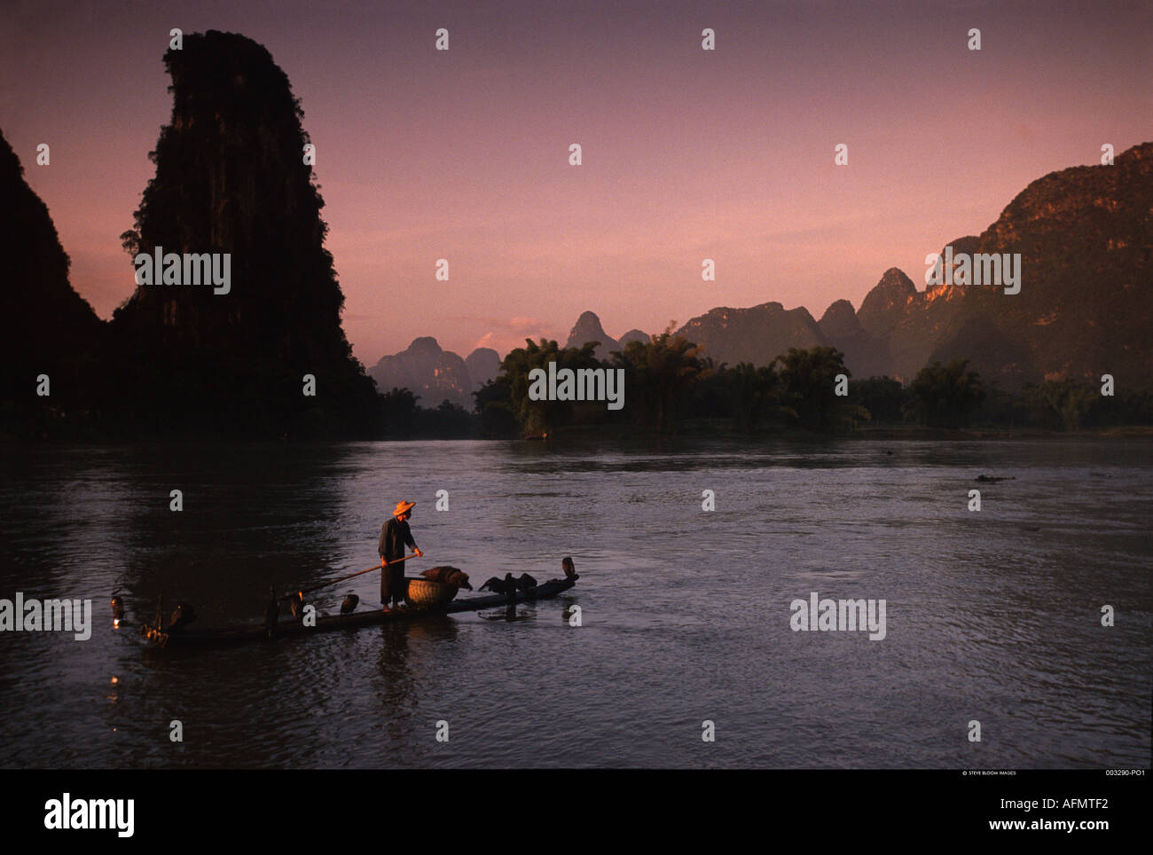 Fisherman and trained cormorants Li River Guangxi Province China - Stock Image