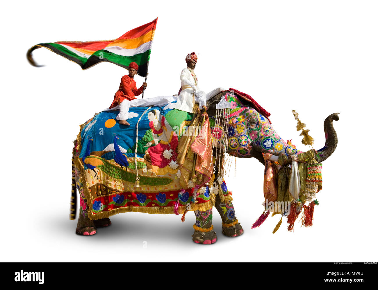 Elephant mahout and flag bearer all dressed for the Jaipur festival India on a white background - Stock Image