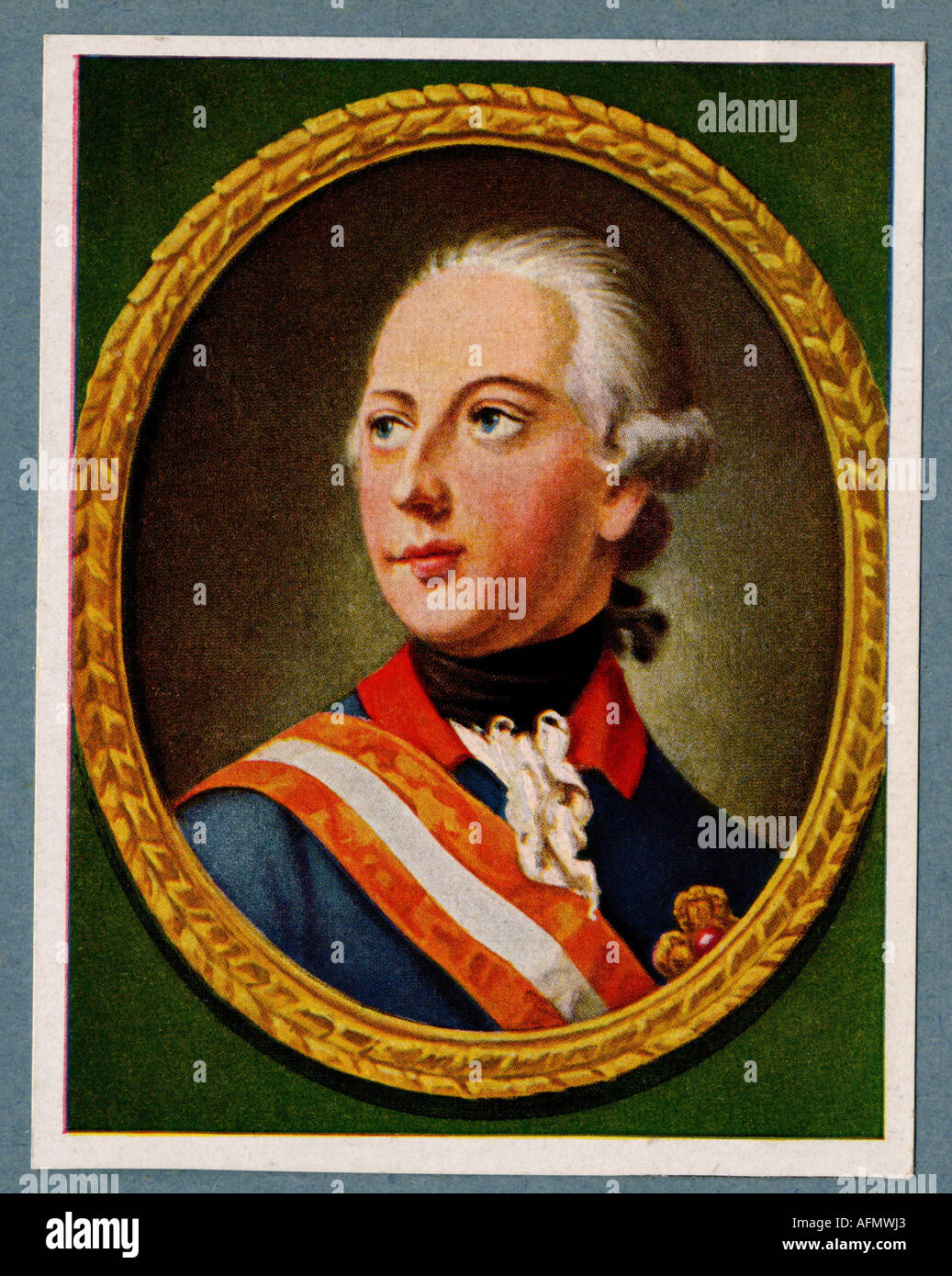 Joseph II., 13.3.1741 - 20.2.1790, Holy Roman Emperor 18.8.1765 - 20.2.1790, Portrait, print after painting by H.F. Stock Photo