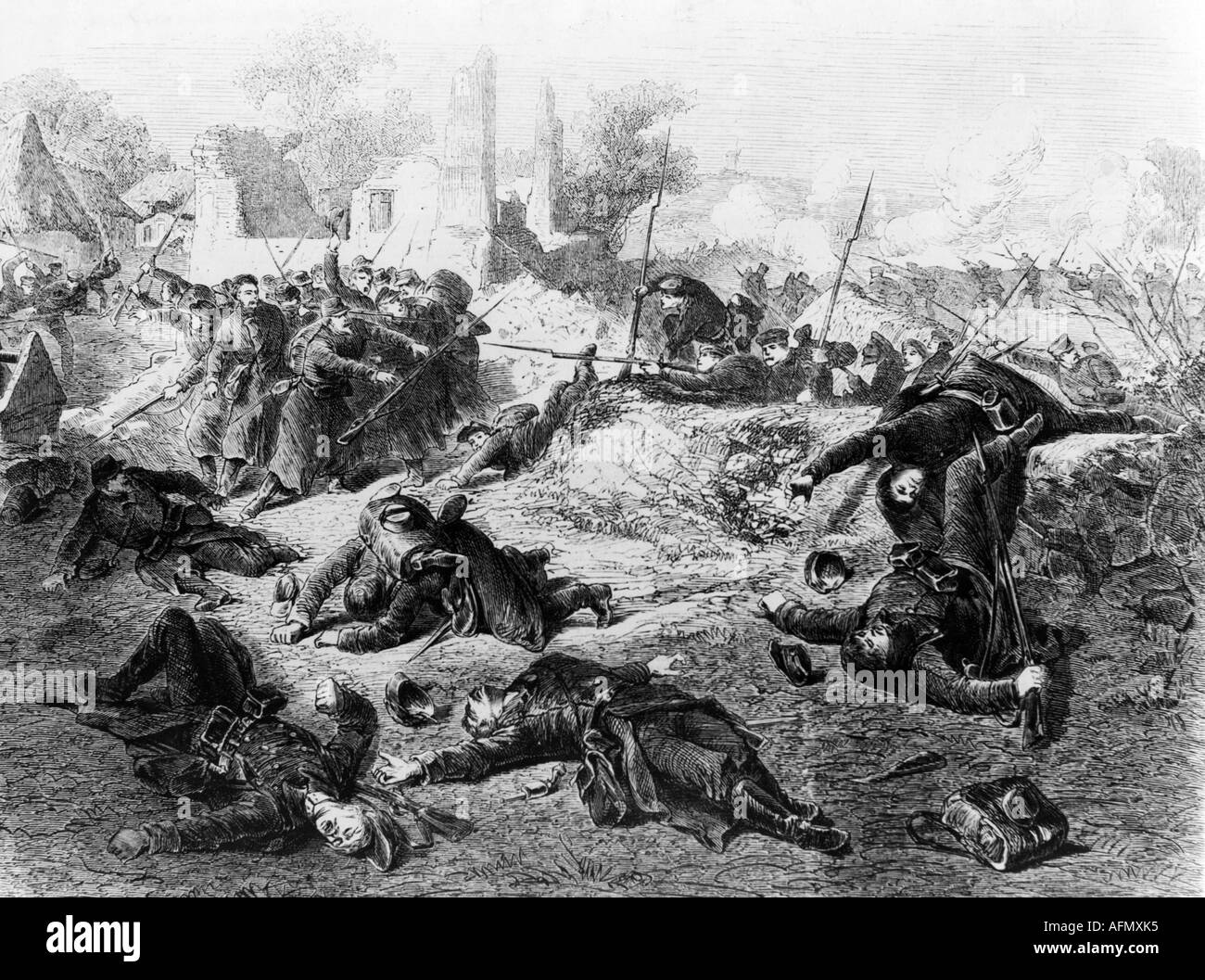 events, Second Schleswig War 1864, Battle of Als, 29.6.1864, wood engraving, drawing by August Beck (1823 - 1872), Danish Prussian War, Germany, Denmark, Prussia, soldiers, dead, warfare, Wars of German Unification, soldiers, fighting, fight, historic, historical, skirmish at Kjär, Kjar, Kjaer, 19th century, people, Additional-Rights-Clearances-NA - Stock Image