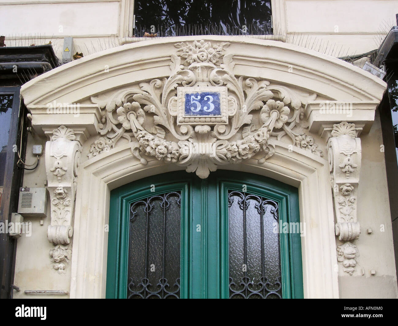 Decorated Facade With Front Door Of House Number 53 In Boulevard Voltaire  11e Arr Paris France