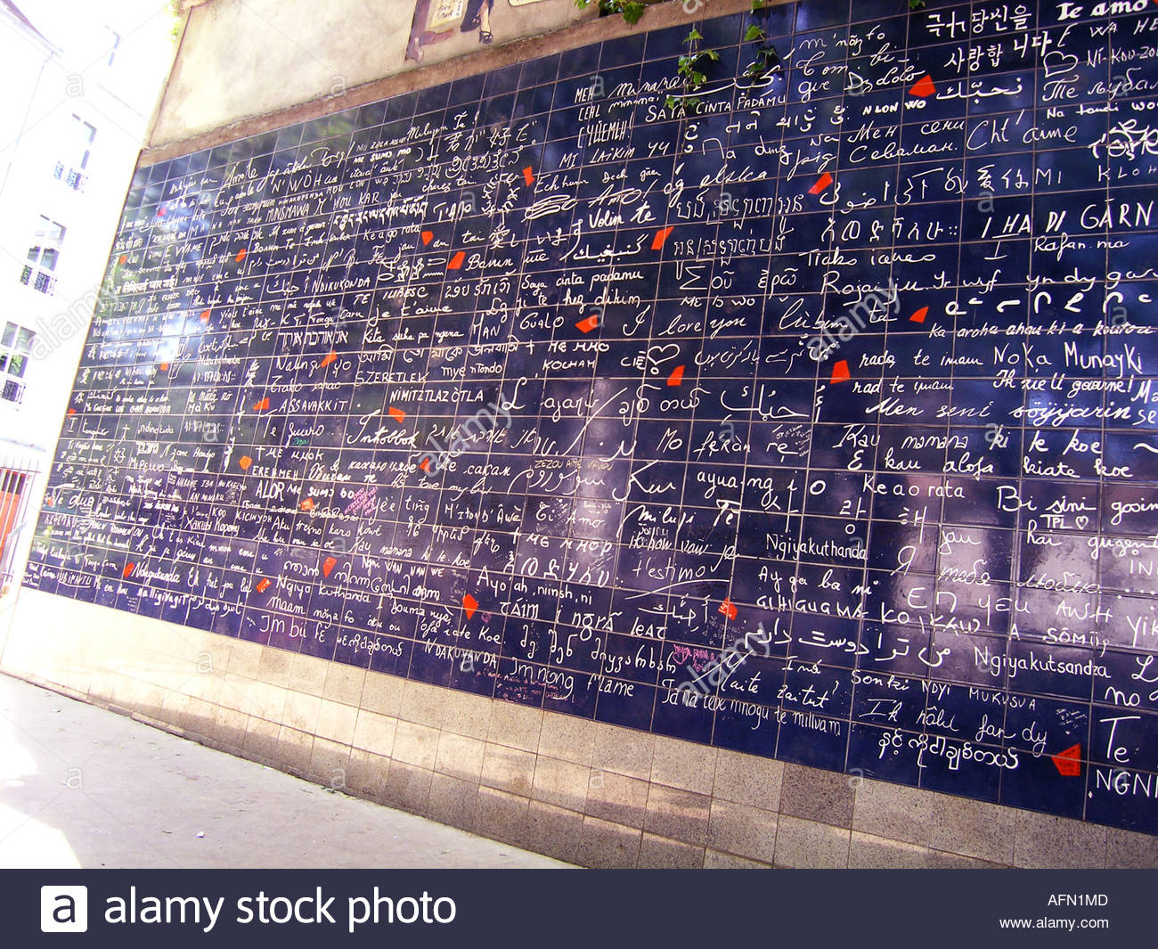 Love Wall near Place des Abbesses Montmartre Paris France - Stock Image