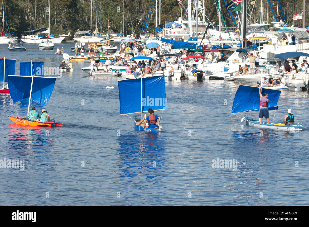 Participants In The Madisonville Wooden Boat Festival Race In Stock