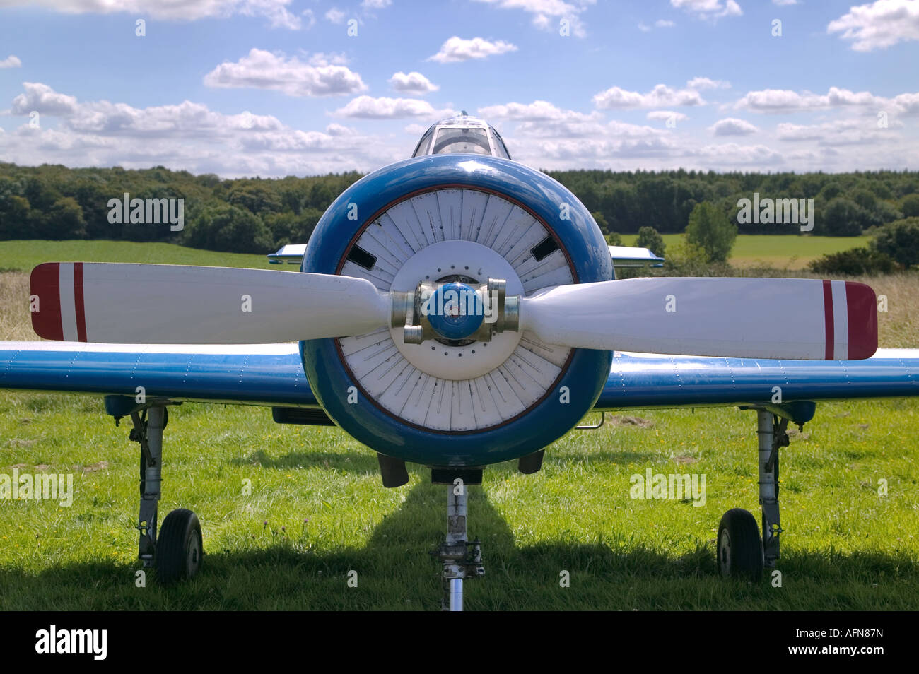 Front of an vintage Russian WW2 propeller plane These are now used for aerobatic stunt flying Stock Photo