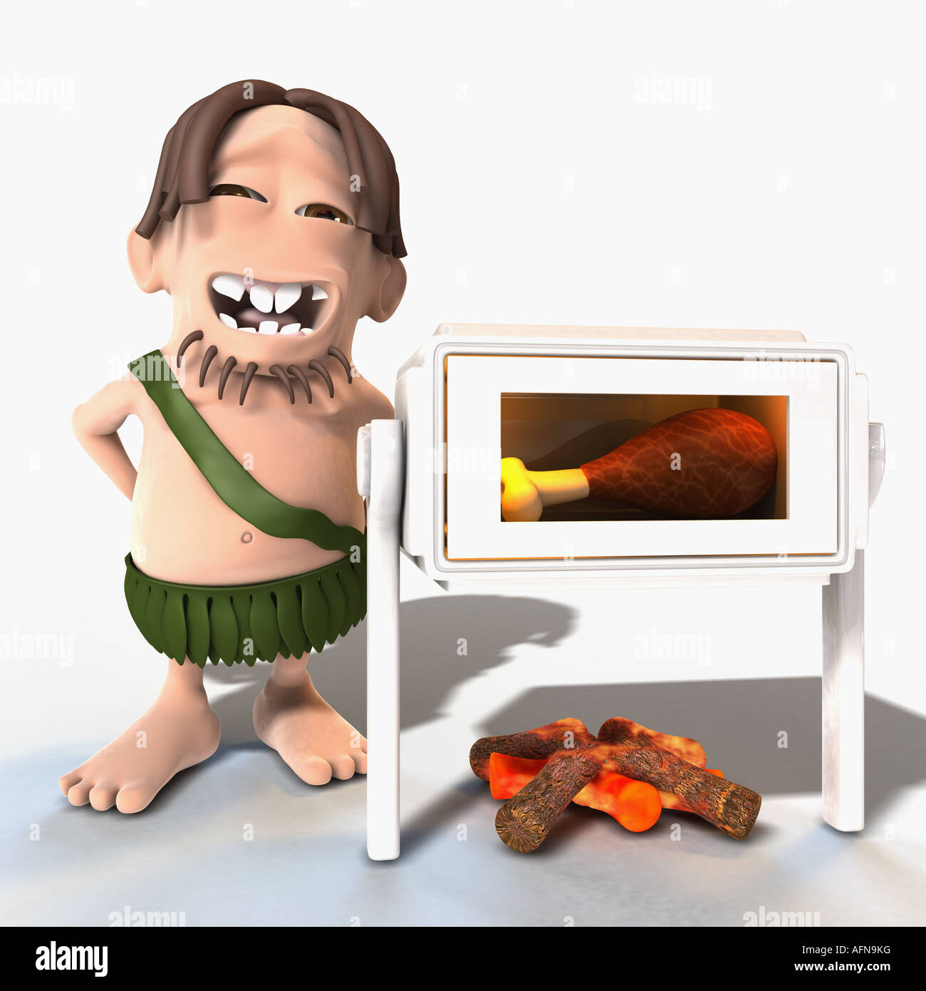 Man cooking a drumstick in microwave with a fire under it - Stock Image