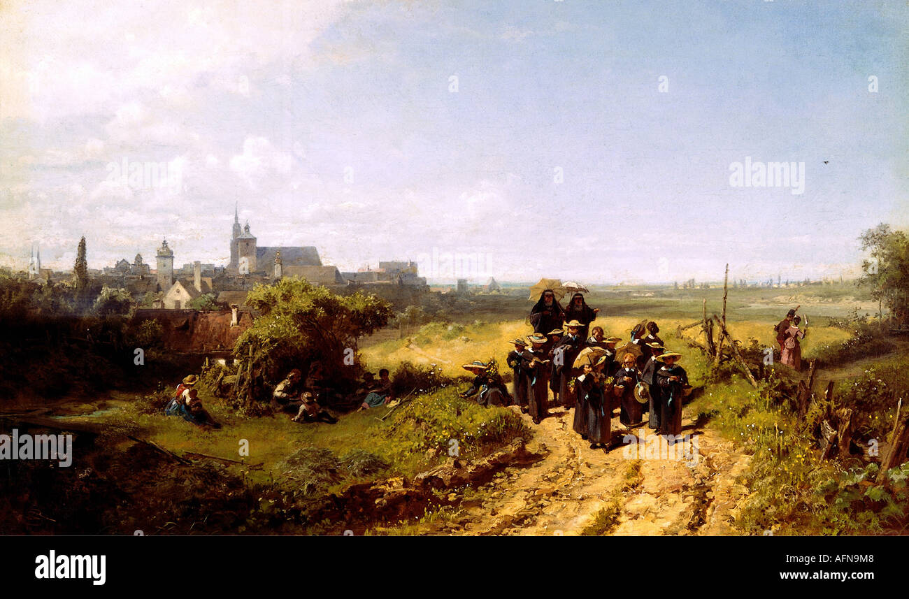 """fine arts - Spitzweg, Carl (1808 - 1885), painting ""Institutsspaziergang"" (Walk with the Institute), circa 1872, Stock Photo"