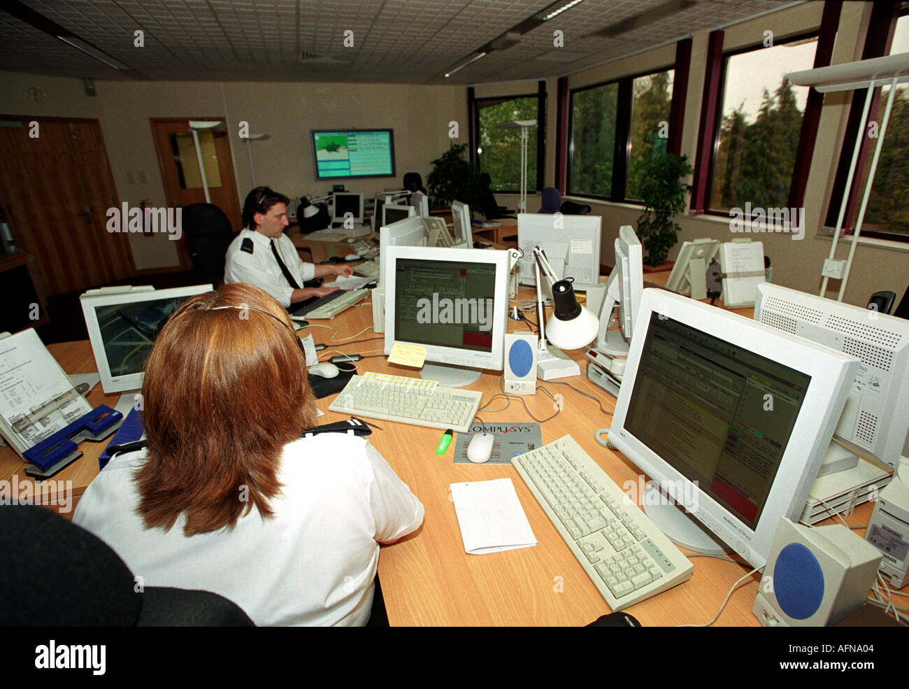 Inside a fire service control room in Britain UK - Stock Image