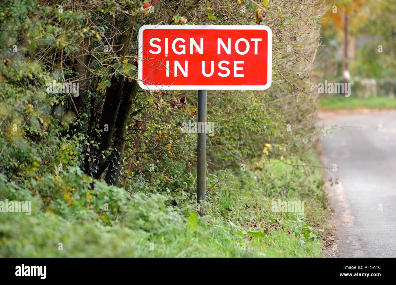 A Sign not in Use sign on a country road - Stock Image