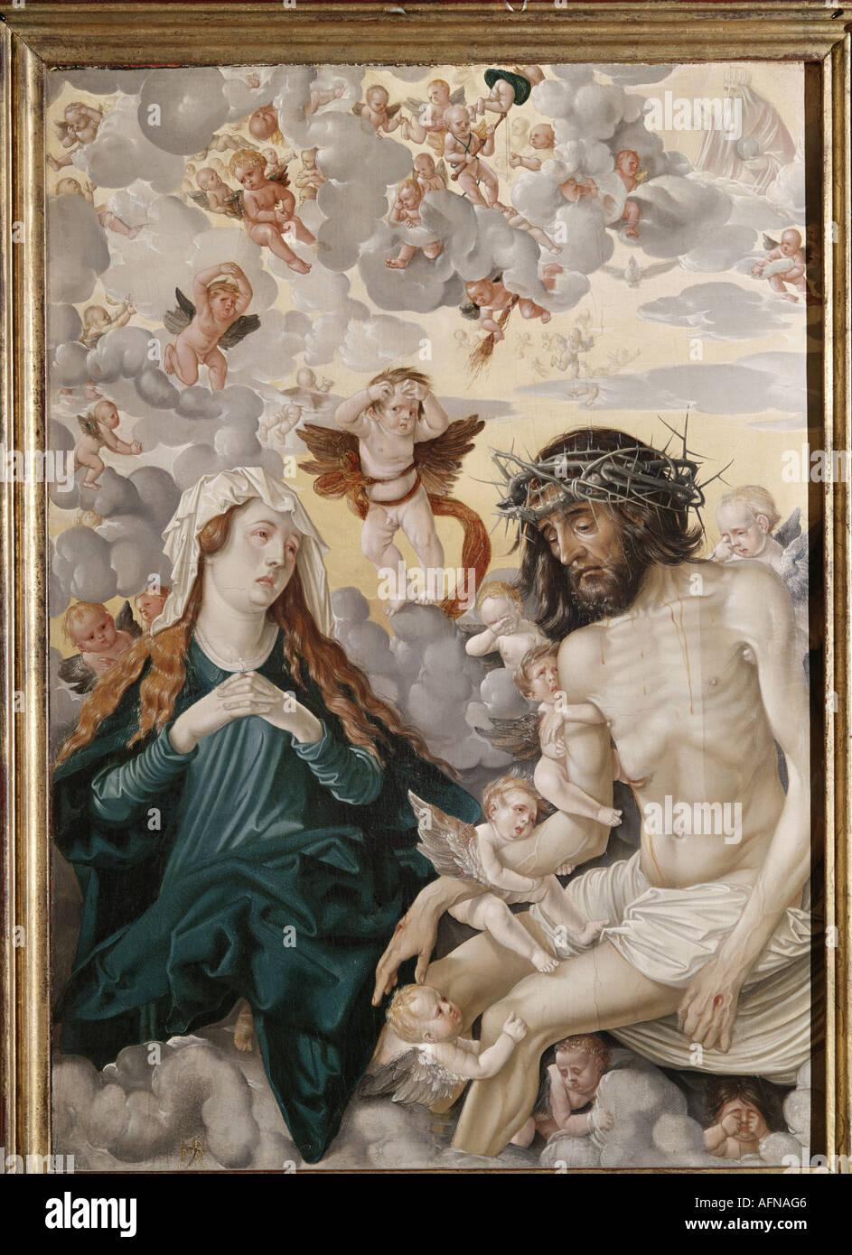 'fine arts, Baldung, Hans called Grien, (1484 / 1485 - 1545), painting, 'Schmerzensmann von Engeln und Maria beweint', ('suff - Stock Image