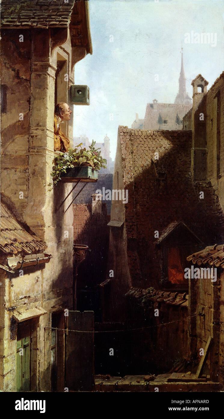 """fine arts - Spitzweg, Carl (1808 - 1885), painting, ""Ein Hypochonder"" (The Hypochondriac), circa 1865, oil on canvas, Stock Photo"
