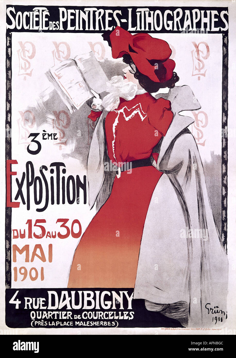 advertising, exhibitions, Societe des Peintres - Lithographes, Paris, 15.- 30.5.1901, poster by Jules Grün, 1900, historic, historical, France, art nouveau, Grun, Gruen, French, exhibition, 20th century, people, 1900s, Additional-Rights-Clearances-NA - Stock Image