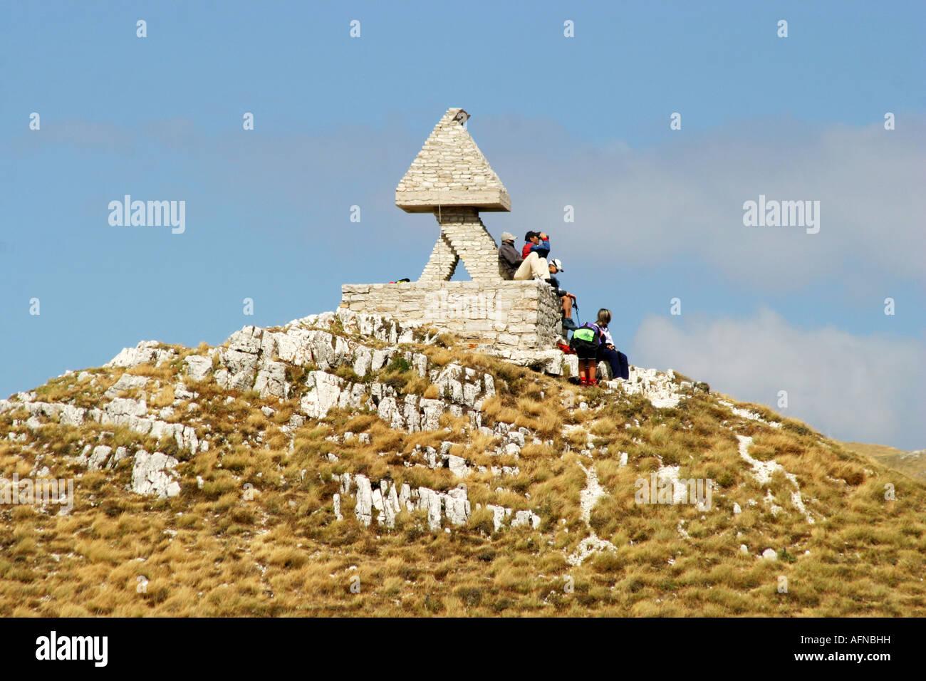 Glorious colour Sasso Tetto  mountain in the Sibillini National Park,Le Marche Italy Stock Photo