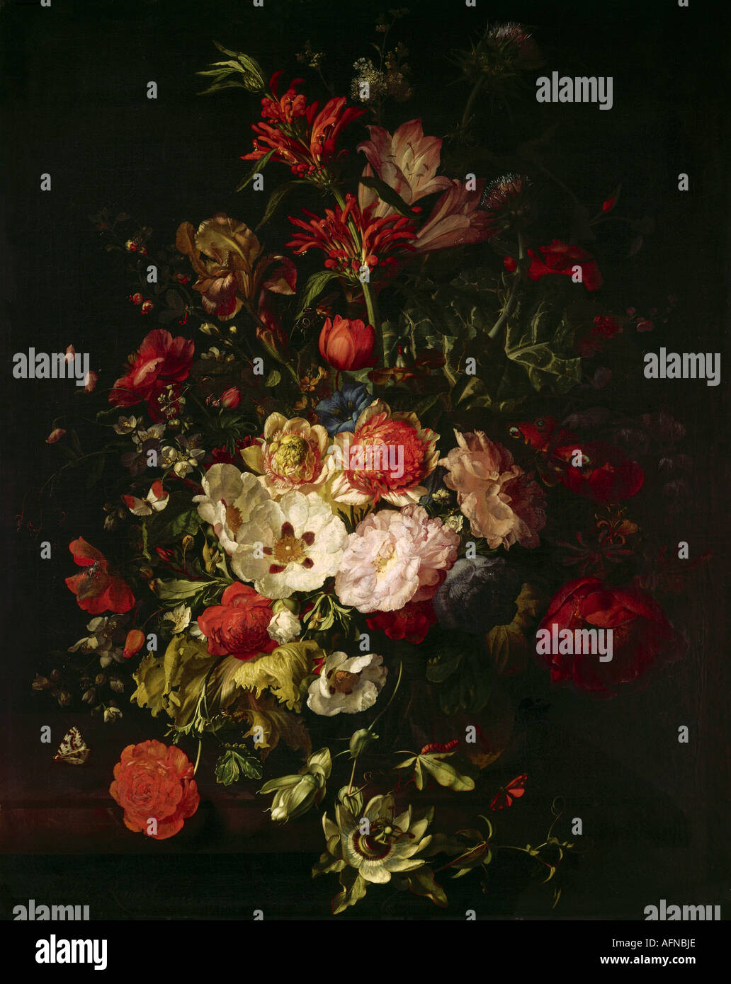 """fine arts, Ruysch, Rachel, (1664 - 12.8.1750), painting, ""still life"", Alte Pinakothek, Munich, still lives, flower, Stock Photo"