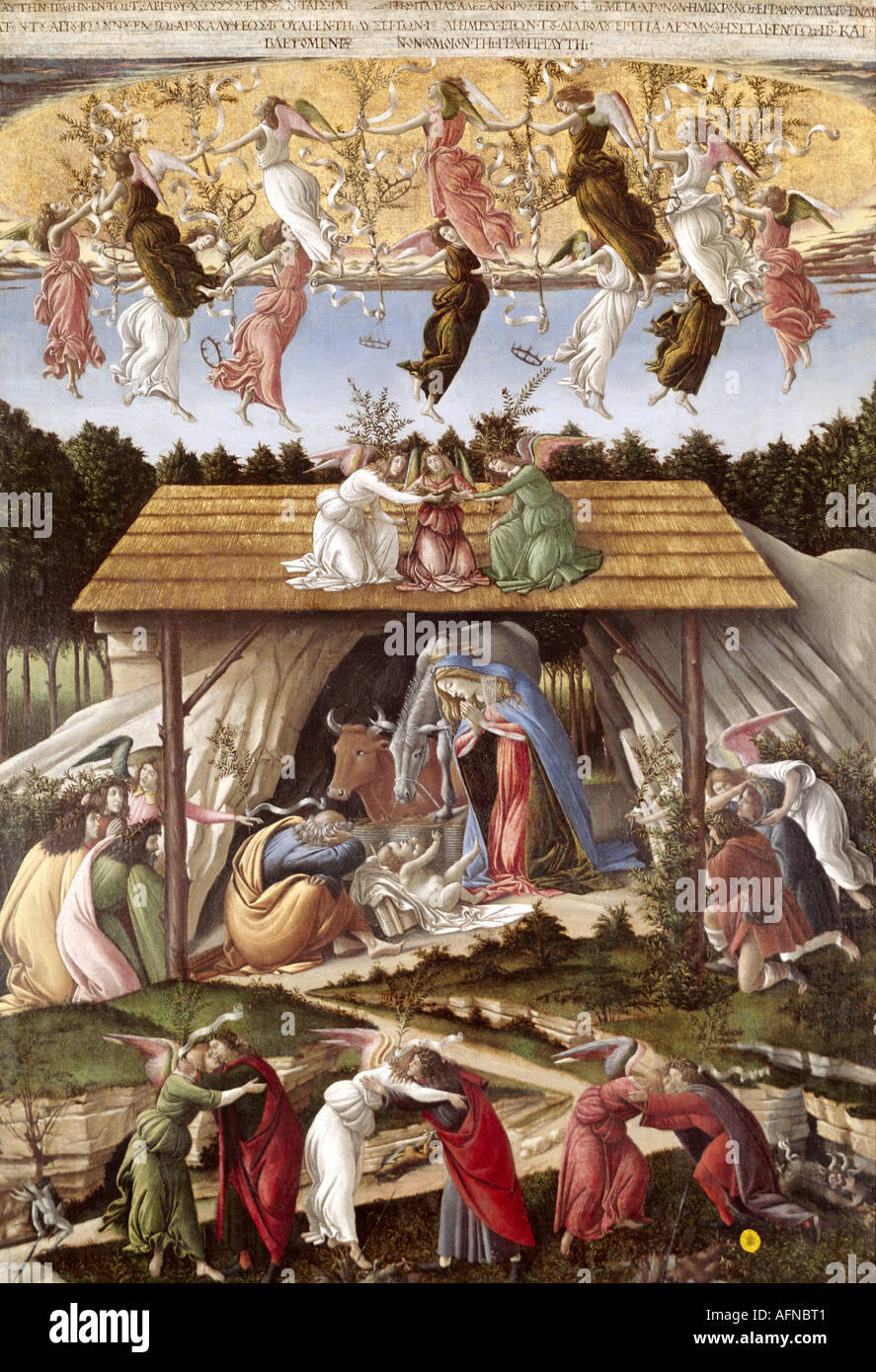 'fine arts, Botticelli, Sandro, (1445 - 1510), painting, 'the mystical nativity', circa 1500, tempera on canvas, 108,5 cm x 75 - Stock Image