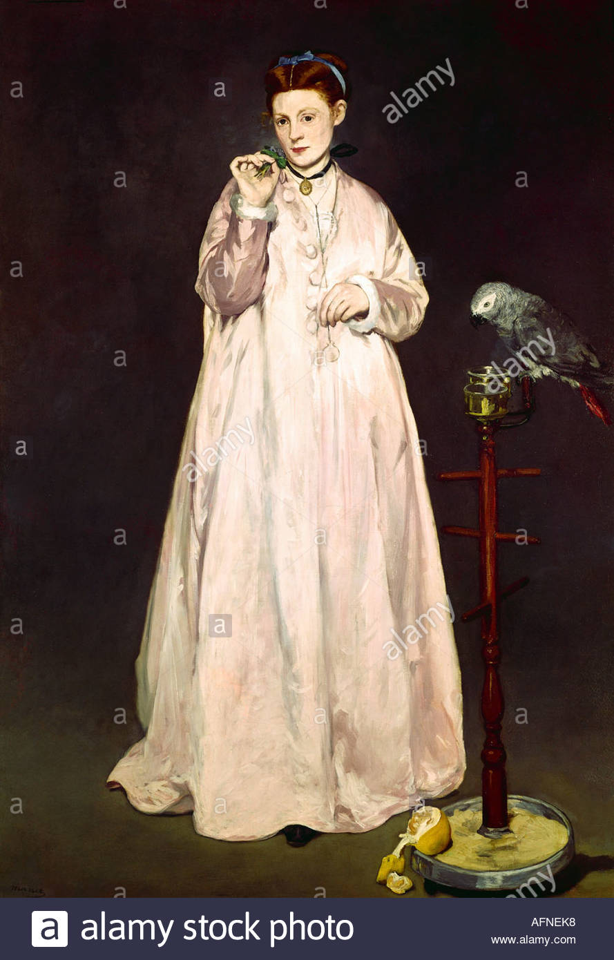 'fine arts, Manet, Edouard, (1832 - 1883), painting, 'La Femme au Perroquet', ('woman with a parrot'), - Stock Image