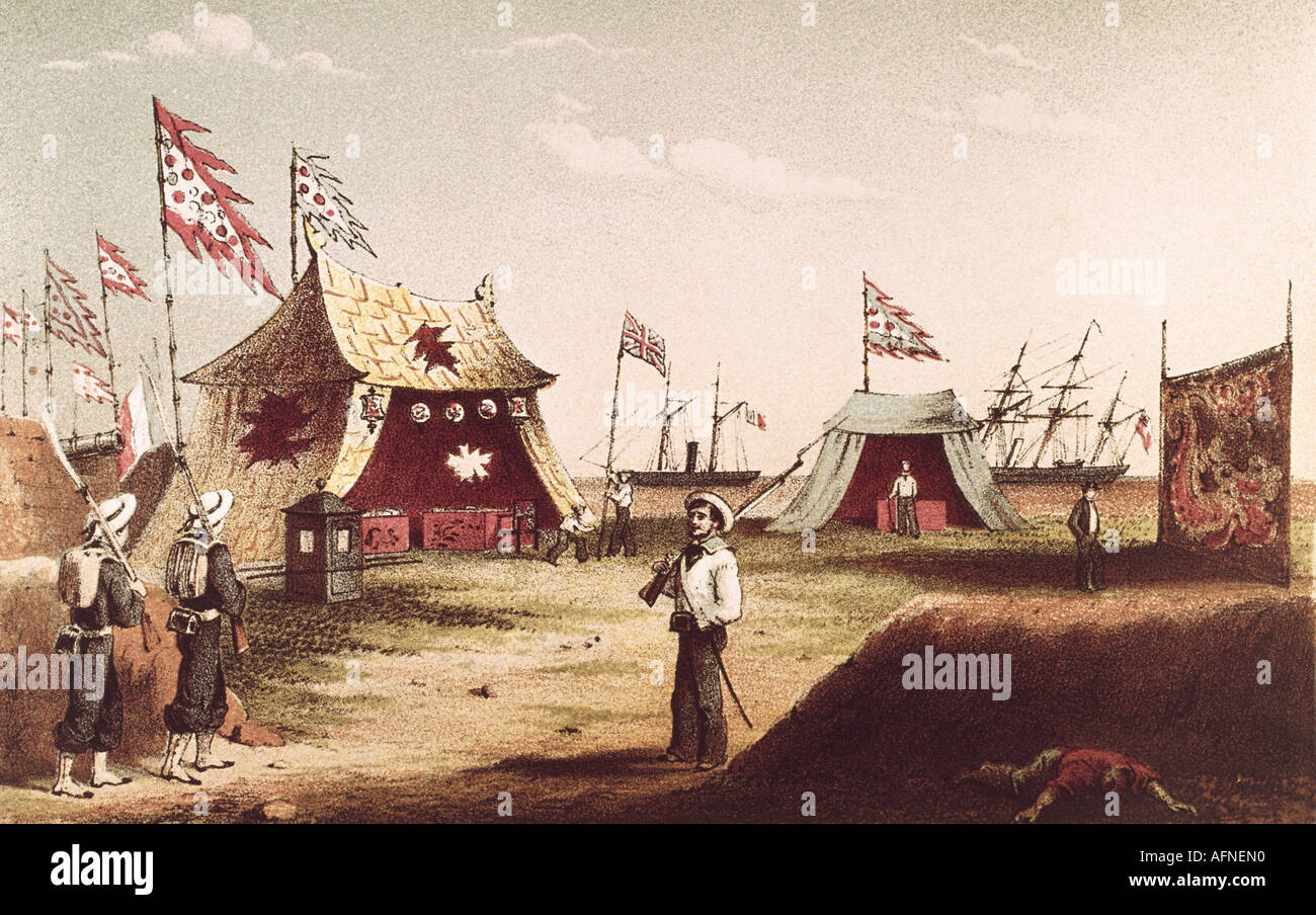 events, Second Opium War 1856 - 1860, treaties of Tientsin, 26.6.1858 - 29.6.1858, Chinese tents for the reception of the British mission, engraving by Hanhart after Dedwell, 1858, politics, China, Great Britain, colonialism, imperialism, Asia, Royal Navy, sailors, pickets, historic, historical, 19th century, people, Additional-Rights-Clearances-NA - Stock Image