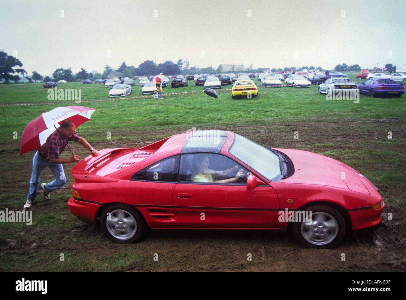 A Sports Car Stuck In The Mud At A Toyota Mr2 Gala In Tetbury Stock