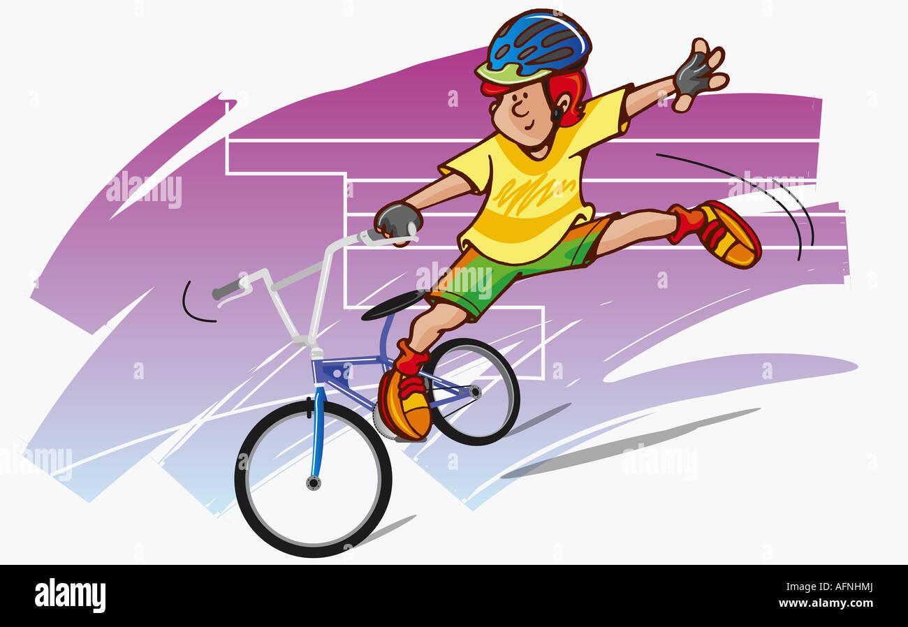 Boy doing stunts on a bicycle - Stock Image