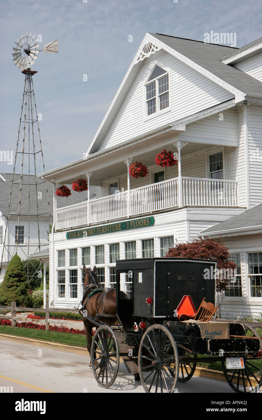 Indiana Shipshewana East Middlebury Street Horse Drawn Amish Buggy Furniture  Store
