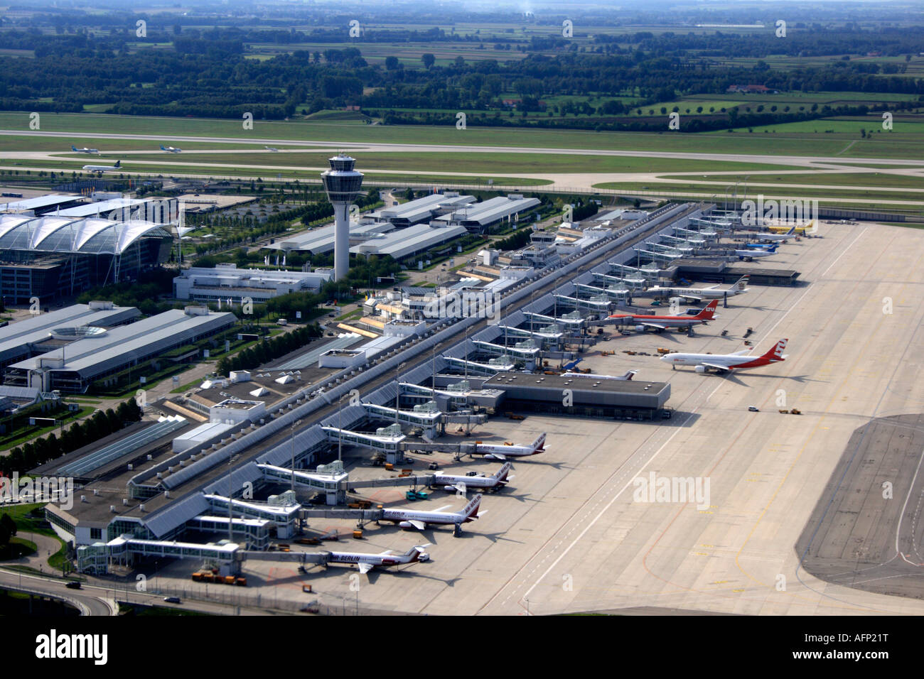 Aerial view of terminal munich airport bavaria germany