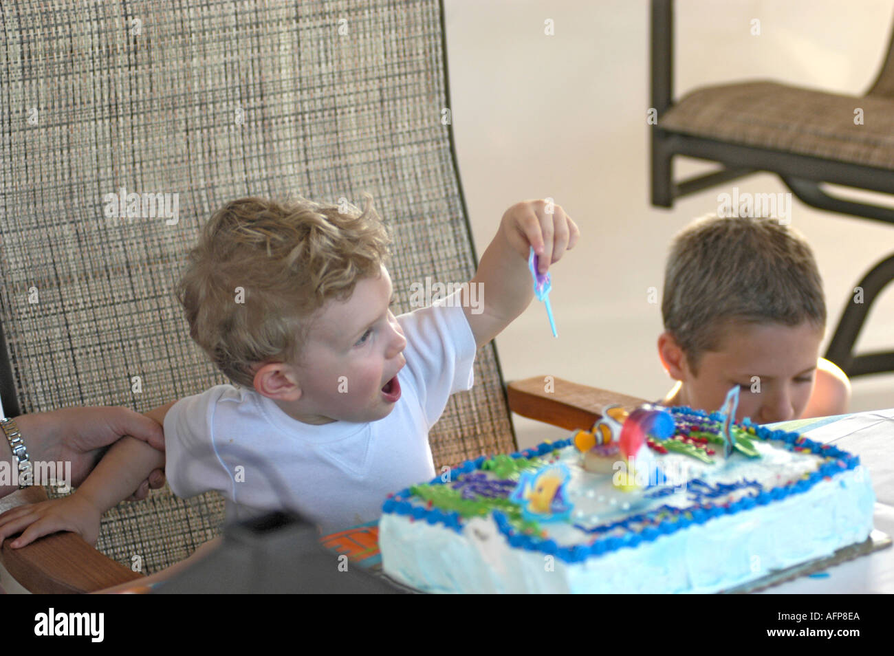 Child Having His 2nd Birthday Party A Boy Stock Photo Alamy