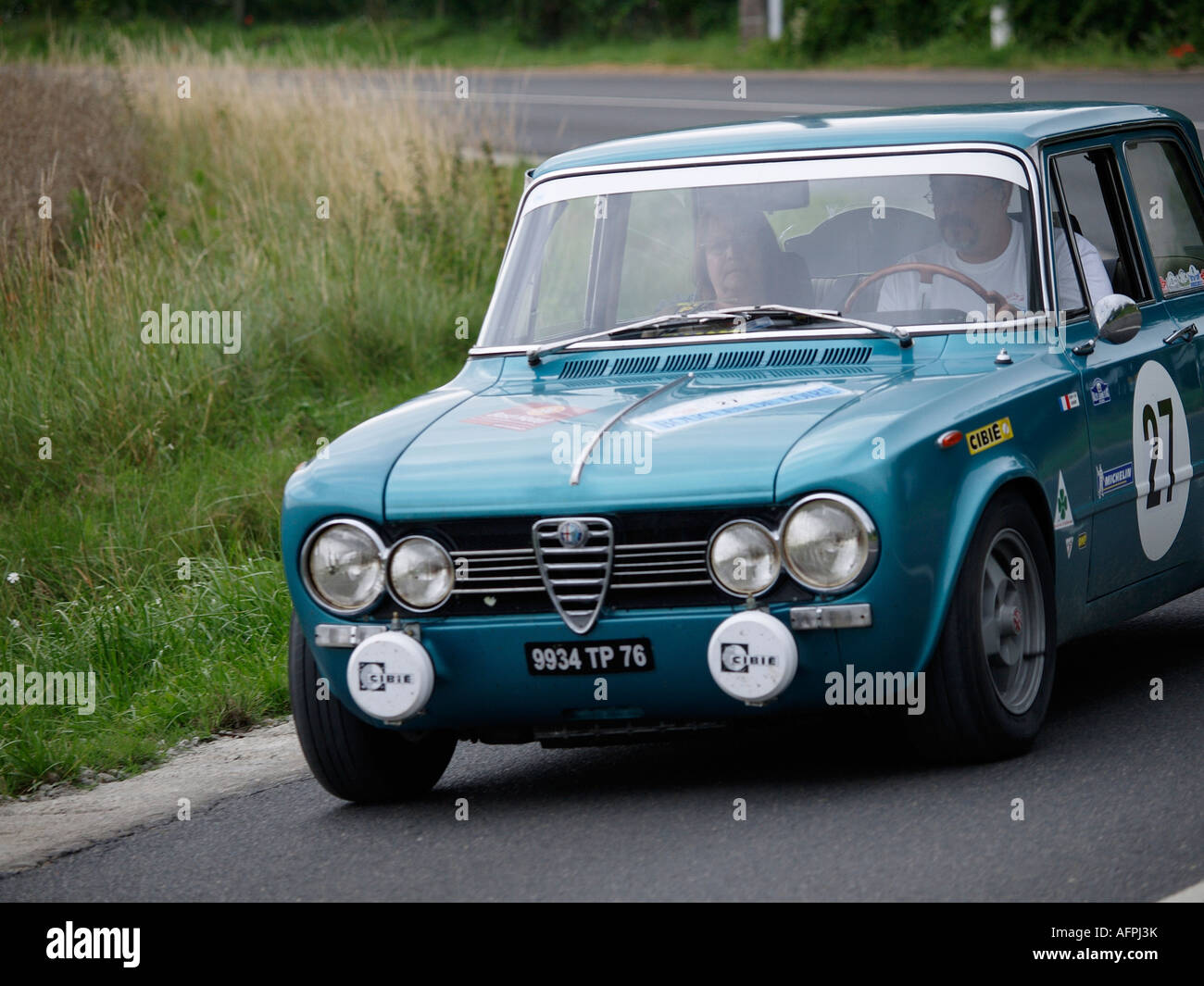 Metallic blue Alfa Romeo Giulia competing in the Boucles de Loire classic car rallye 2007 Cande sur Beuvron France - Stock Image