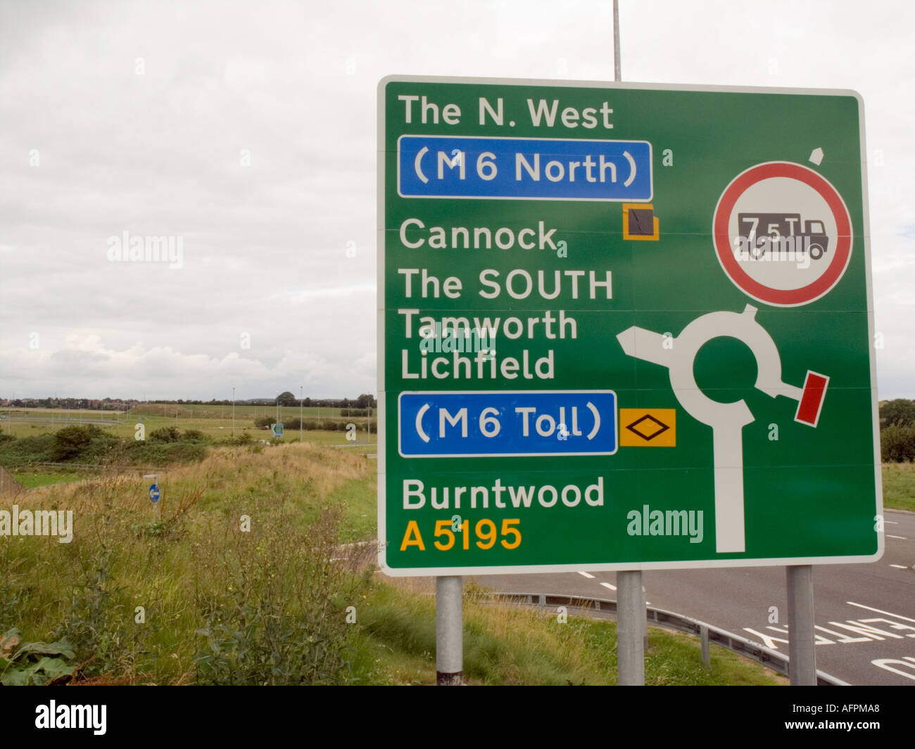 M6 TOLL road sign on approach slip road Burntwood Staffordshire England UK - Stock Image