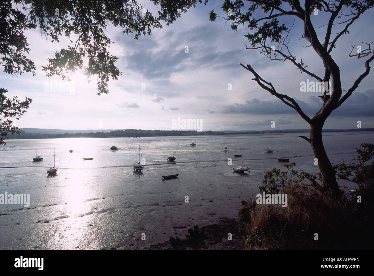 The Exe Estuary at Lympstone Devon during Low Tide with Assorted Small Boats on the Exposed Mud Photographed into - Stock Image