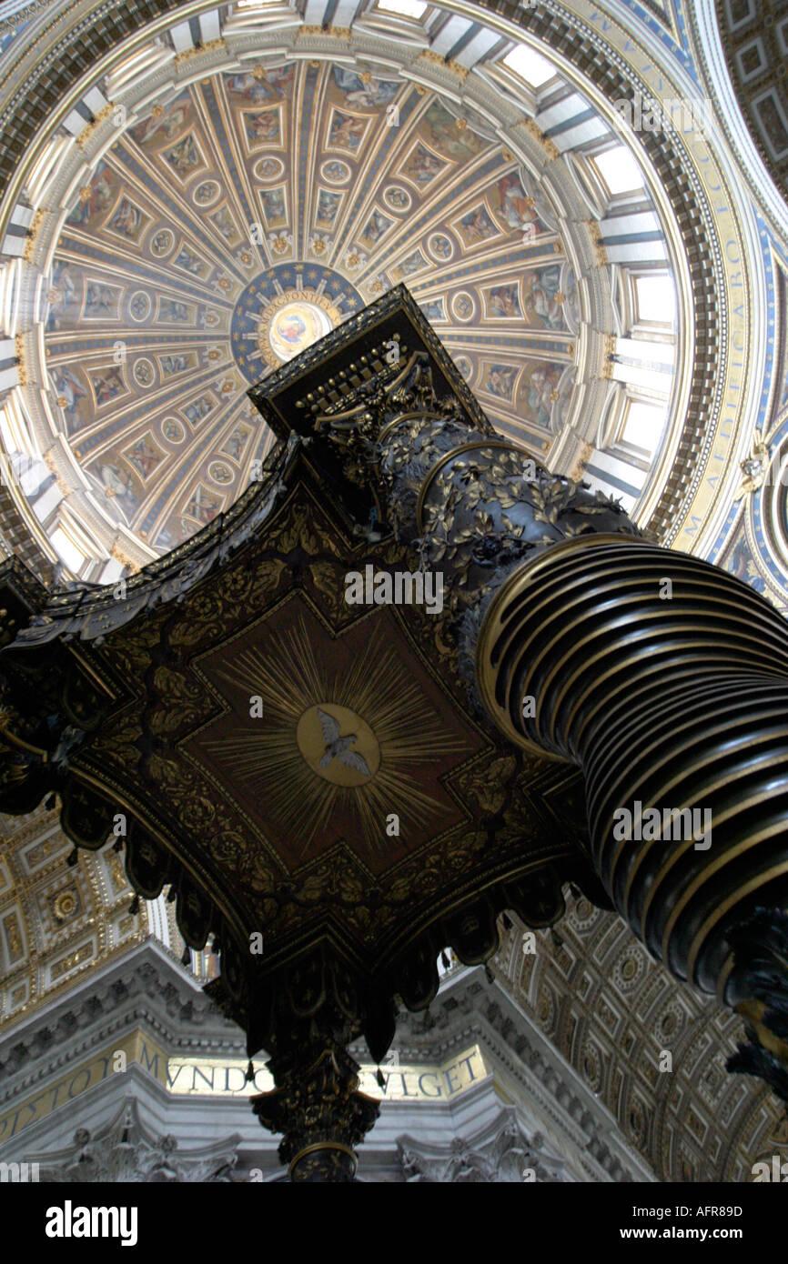 Bernini s baldaquin Saint Peter s Basilica Rome - Stock Image