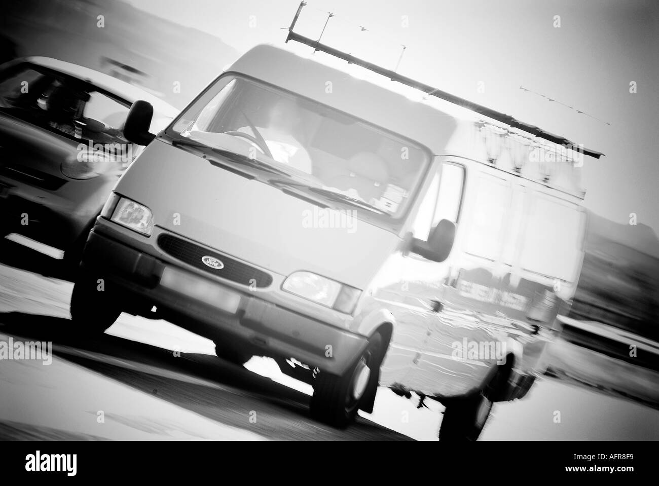 Van At Speed On Motorway Freeway Travel Workman Ford Transit Delivery Short Drop Long Distance Panel