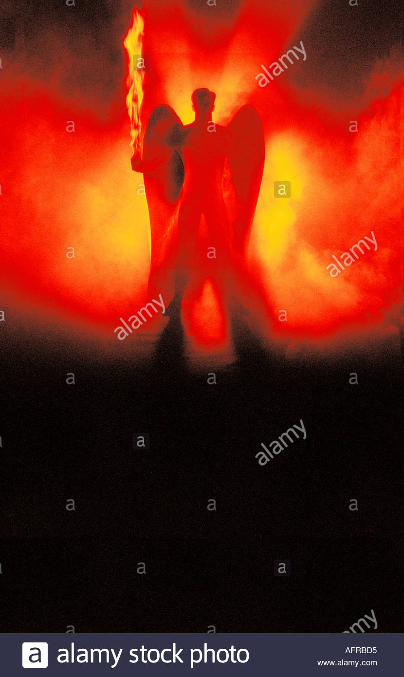Angel with burning sword - Stock Image