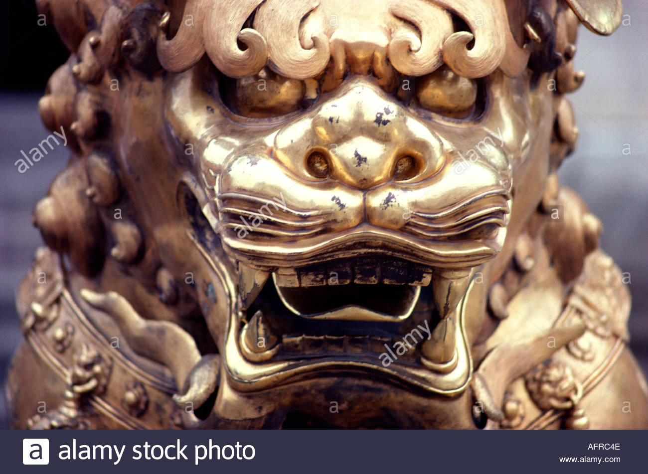 Brass dragon face at the Forbidden City in Beijing Peking China - Stock Image