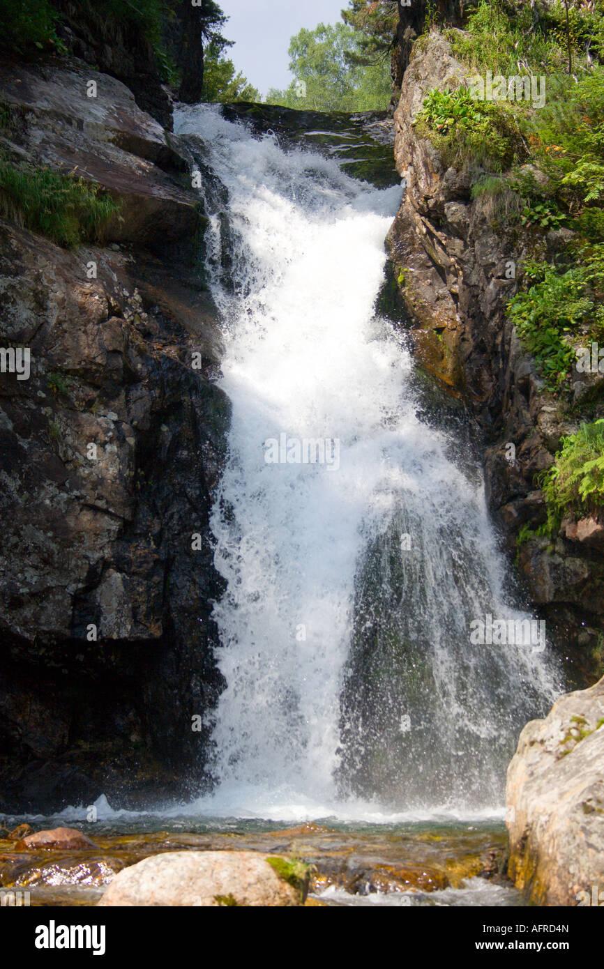 waterfall grohotun thunderer on the same name brook foothills of Sayan s mountain range - Stock Image