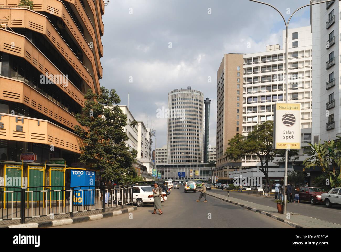 Kimathi Street Nairobi Kenya East Africa The Hilton International Hotel is at the end of the street - Stock Image