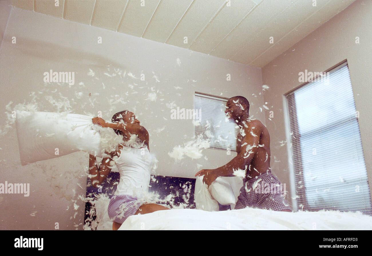 Black Couple Pillow Fighting Stock Photo 2605010 Alamy